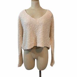 Free People beige oversized crop sweater